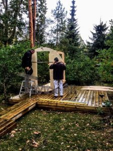 Building The Carcass Of The Outdoor Barrel Sauna