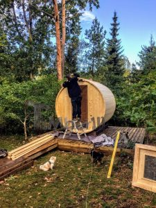 Building The Roof Of The Outdoor Barrel Sauna