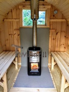 The Inside Of The Outdoor Barrel Sauna