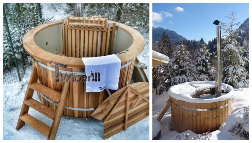 Wood fired hot tubs in winter