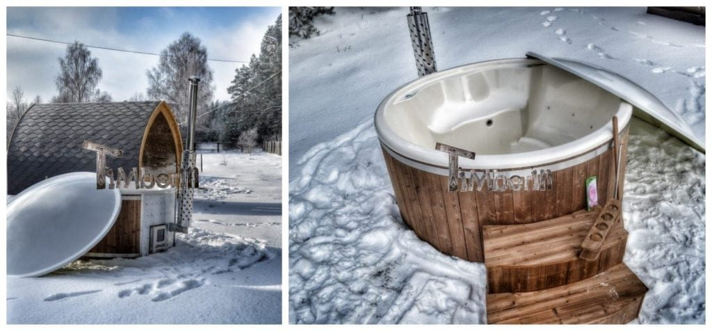 Fiberglass hot tub in winter