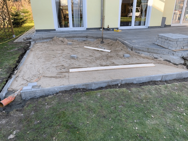 Ground preparation for the wood fired hot tub