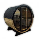 Outdoor barrel sauna mini with glass front timberin