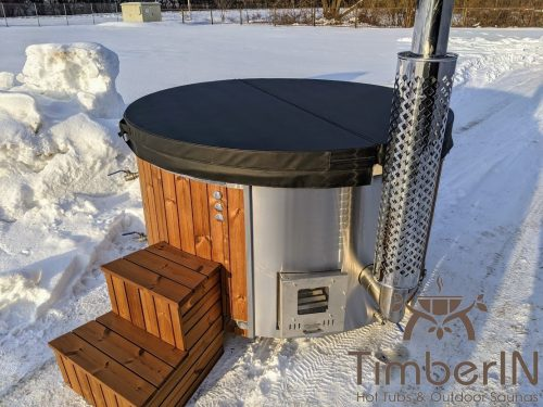 Wood fired hot tub with jets integrated wood burner (17)