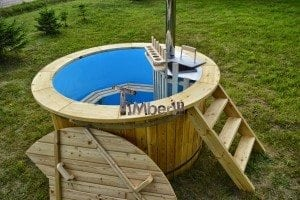 Wood heated hot tub Siberian larch with snorkel heater
