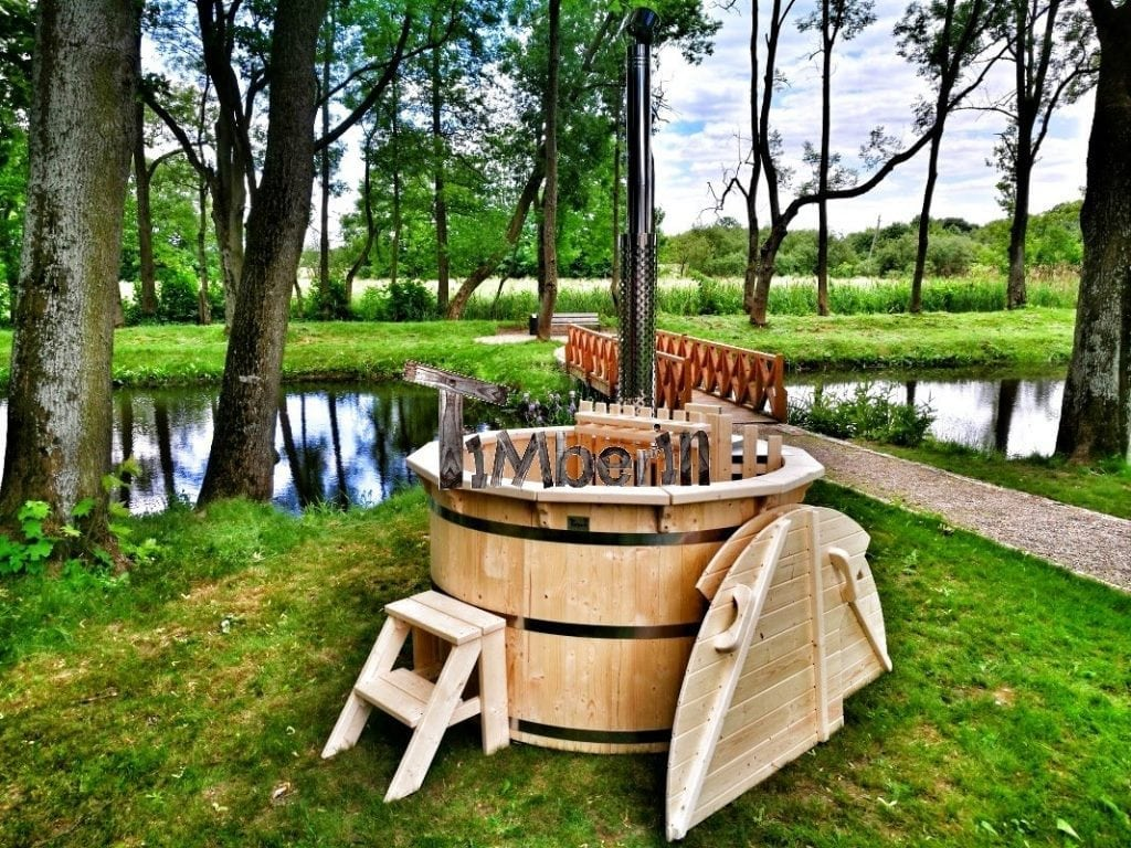 Round Outdoor Hot Tub Spruce Larch Deluxe Design Timberin