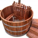Wooden hot tub i nthermo wood with C type stairs