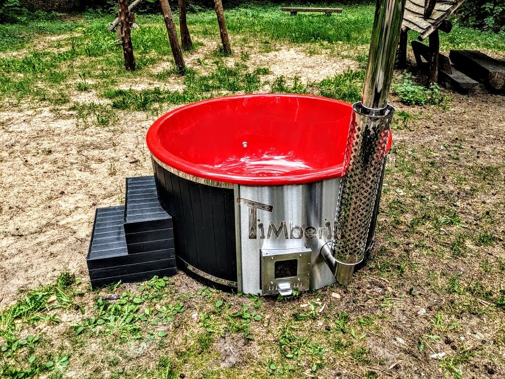 Outdoor whirlpool hot tub with Smart pellet stove UPDATED