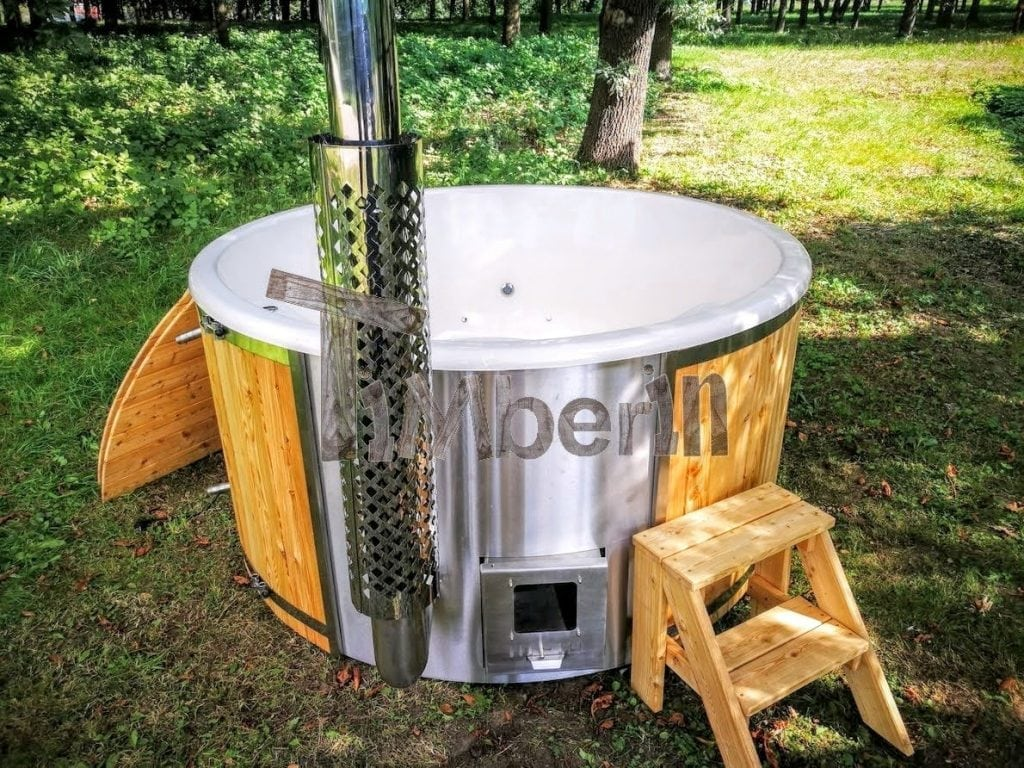 Fiberglass lined outdoor spa with integrated heater spruce for Fiberglass garden tubs