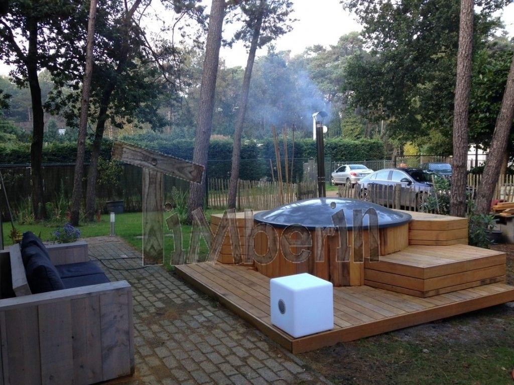 Wood fired electrically heater hot tub sunken built in for Terrace jacuzzi