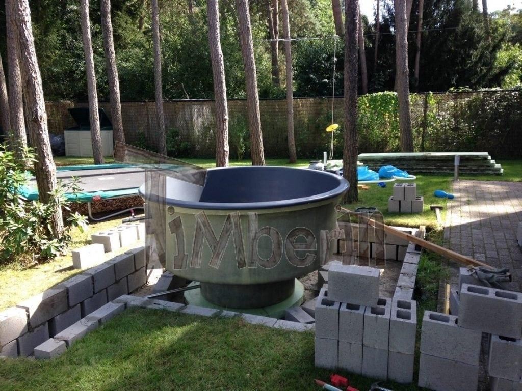 Wood Fired Electrically Heater Hot Tub Sunken Built In: fiberglass garden tubs
