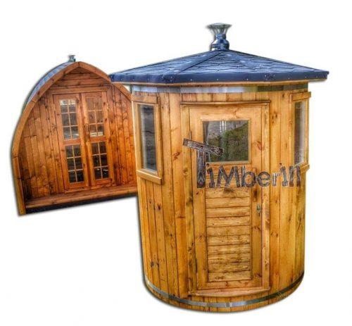 Vertical standing outdoor woodn sauna1