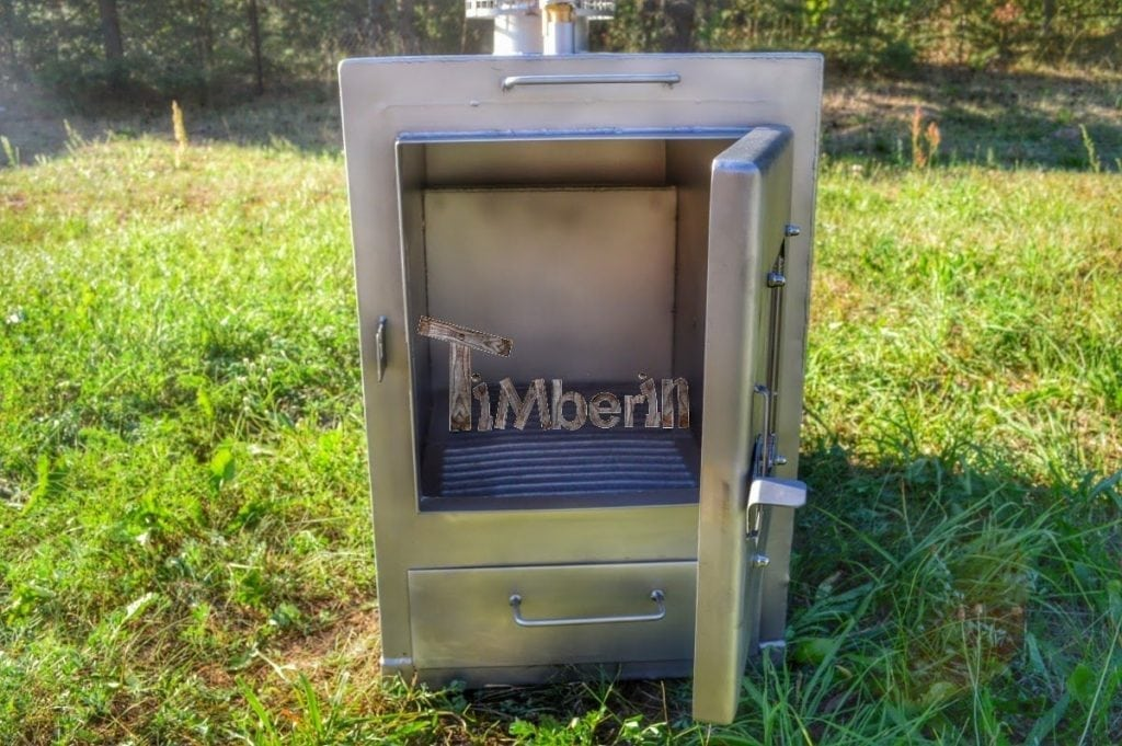 Outside Stainless Steel Wood Fired Hot Tub Heater Timberin