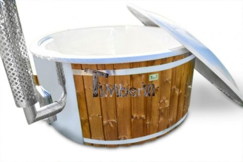 Wood burning fiberglass hot tub with jets