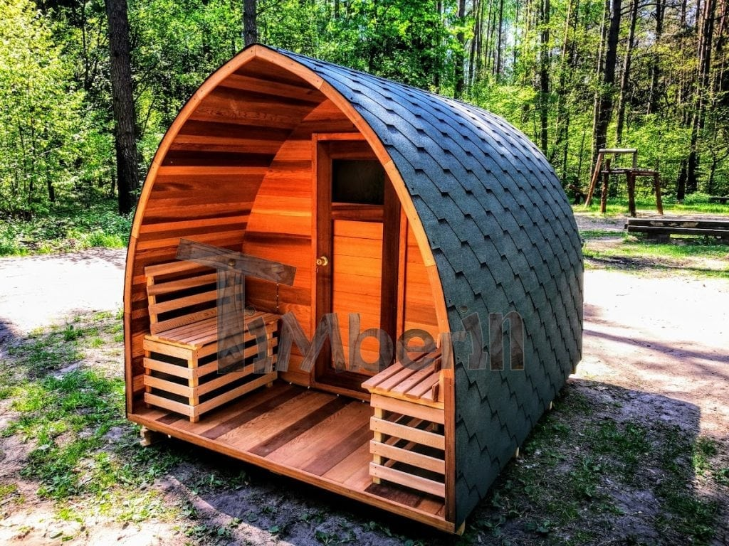 Exceptional Outdoor Garden Wooden Sauna Red Cedar With Electric Heater And Porch (10)