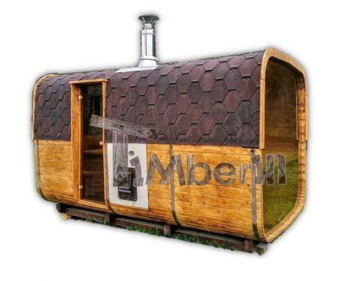 Rectangular barrel wooden outdoor sauna