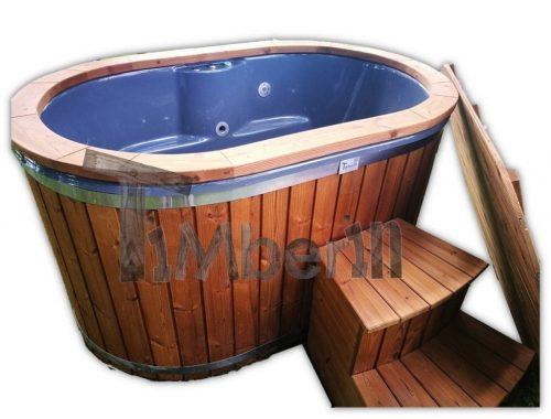 2 person wooden hot tub fiberglass liner