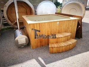 Wood burning hot tub rectangular model with round oven