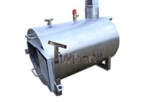 Wood fired hot tub heater external round model