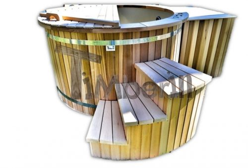 Red cedar hot tub wood fired - electric 6 - 8 persons