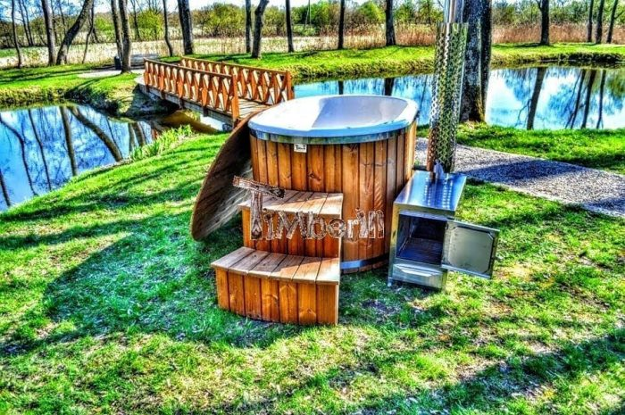 Fiberglass Hot Tub For 2 Persons Wood Fired