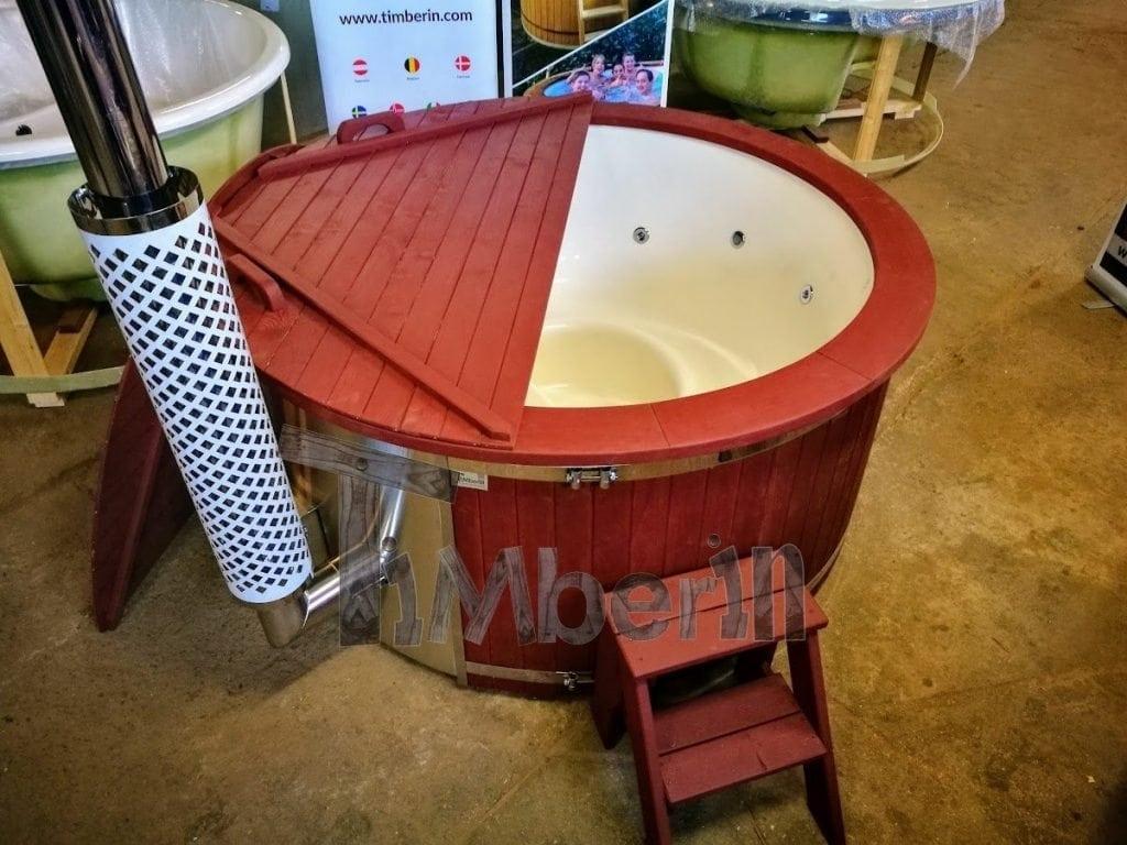 Fiberglass lined outdoor hot tub integrated heater with for Fiberglass garden tubs