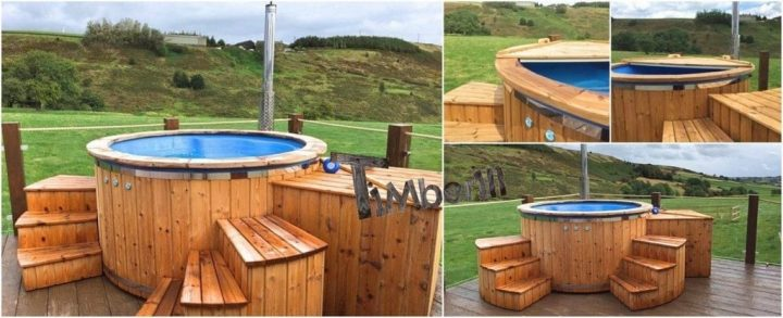 Fiberglass Lined Hot Tub With Integrated Burner Thermo Wood Wellness Royal, James, Sheffield, UK