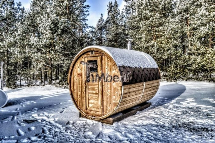 Outdoor Garden Wooden Sauna In Winter