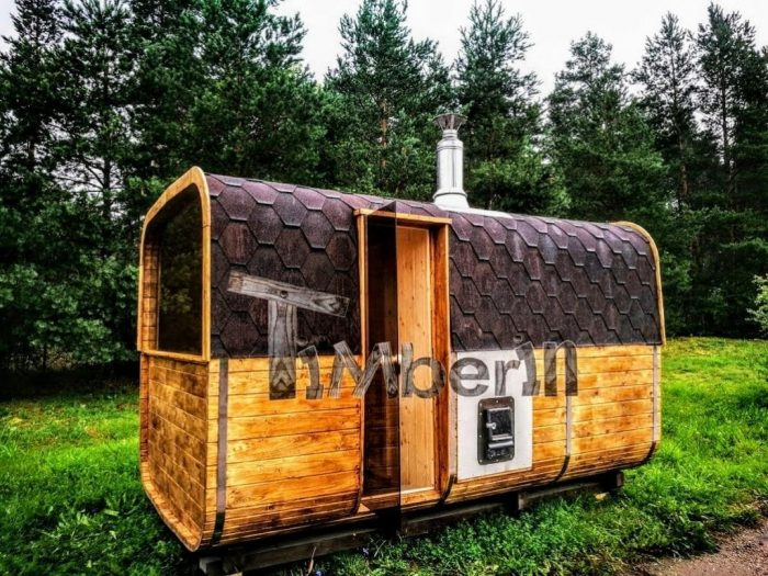 Rectangular Outdoor Garden Wooden Sauna And Hot Tub