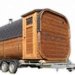 Rectangular square outdoor sauna on wheels