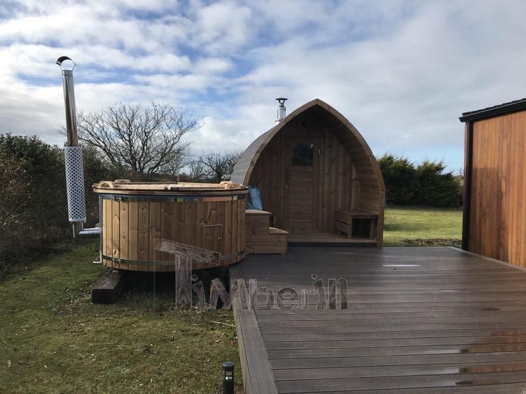 Outdoor sauna Iglu wood fired hot tub with integrated wood burner Wellness Royal Paul Sligo Ireland 2