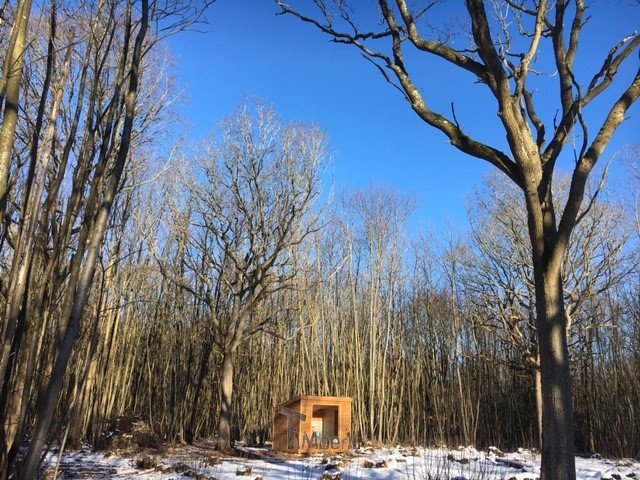 Rectangular wooden outdoor sauna Linda Goudhurst U.K.