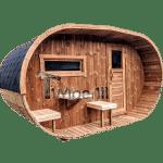 Oval wooden outdoor sauna
