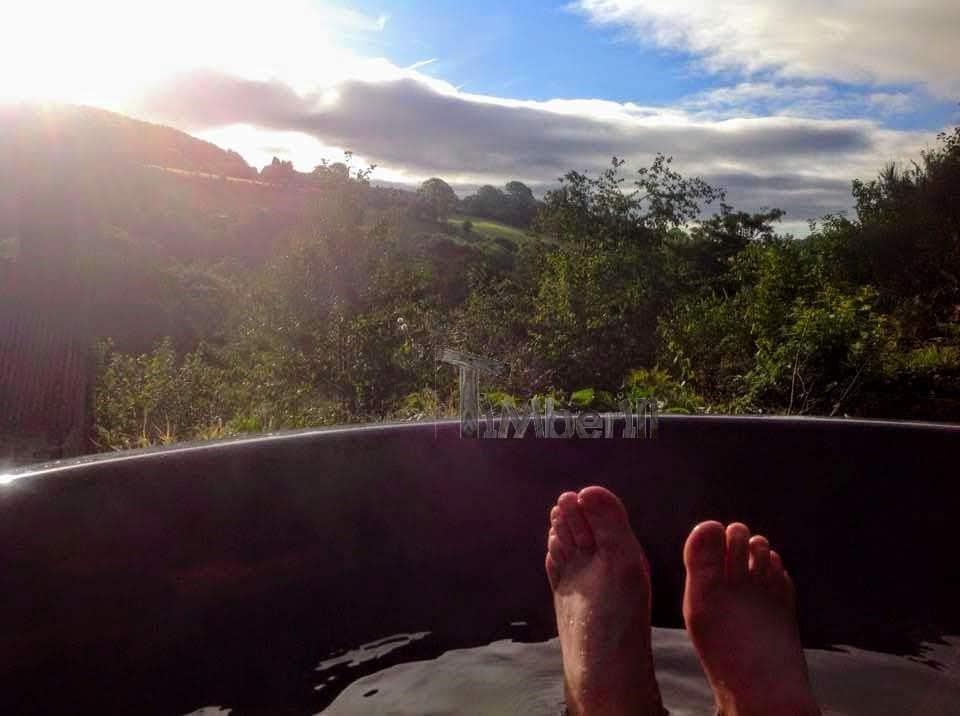 Fiberglass outdoor spa with external burner Jackie Abergavenny U.K. wm