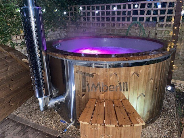Wood burning fiberglass hot tub with jets Wellness Royal Carl Crediton United Kingdom 2