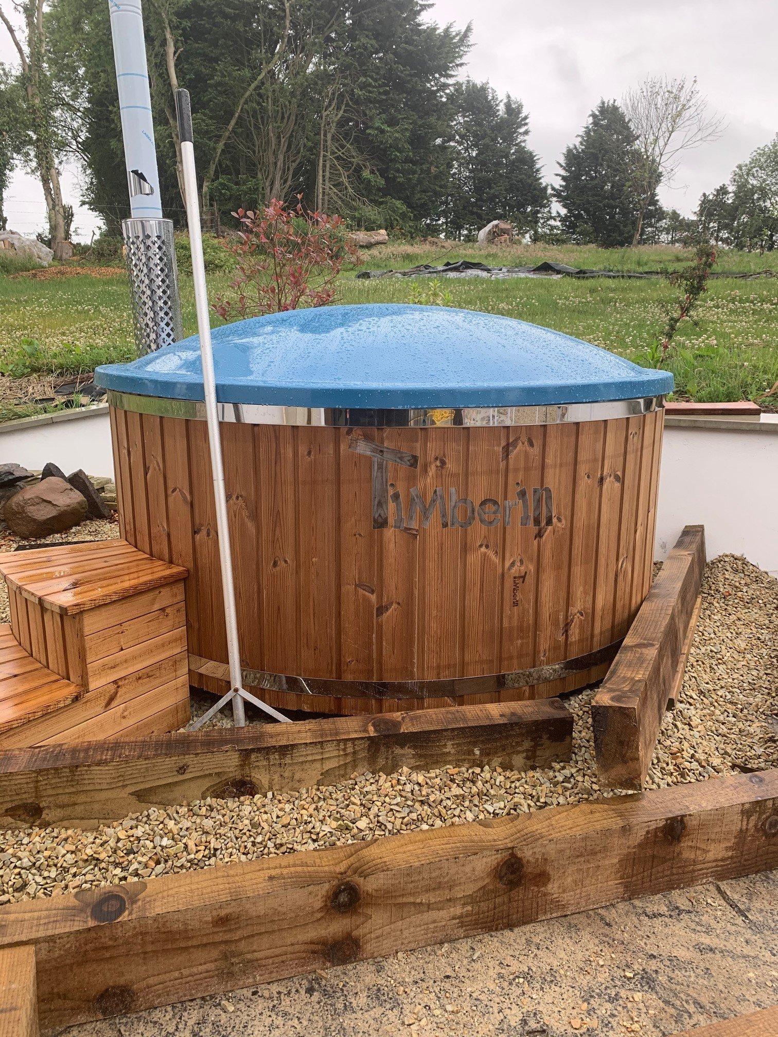 Wood burning fiberglass hot tub with jets Wellness Royal Rachel Lisburn United Kingdom