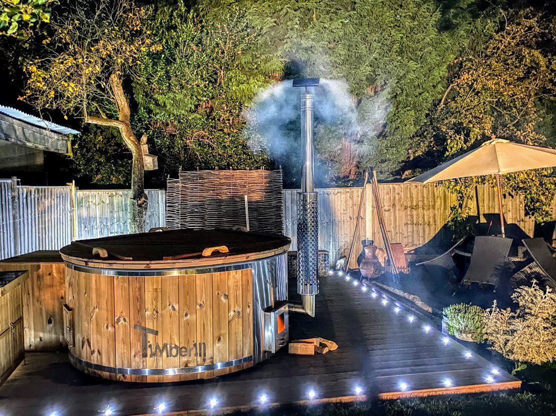 Wood burning fiberglass hot tub with jets Wellness Royal James Derby United Kingdom