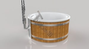 Wellness_Fiberglass_3D_render_(15) Fiberglass lined outdoor hot tub integrated heater with wood staining