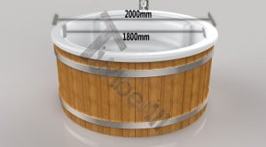 Wellness_Royal_3D_(1) Fiberglass lined outdoor hot tub integrated heater with wood staining